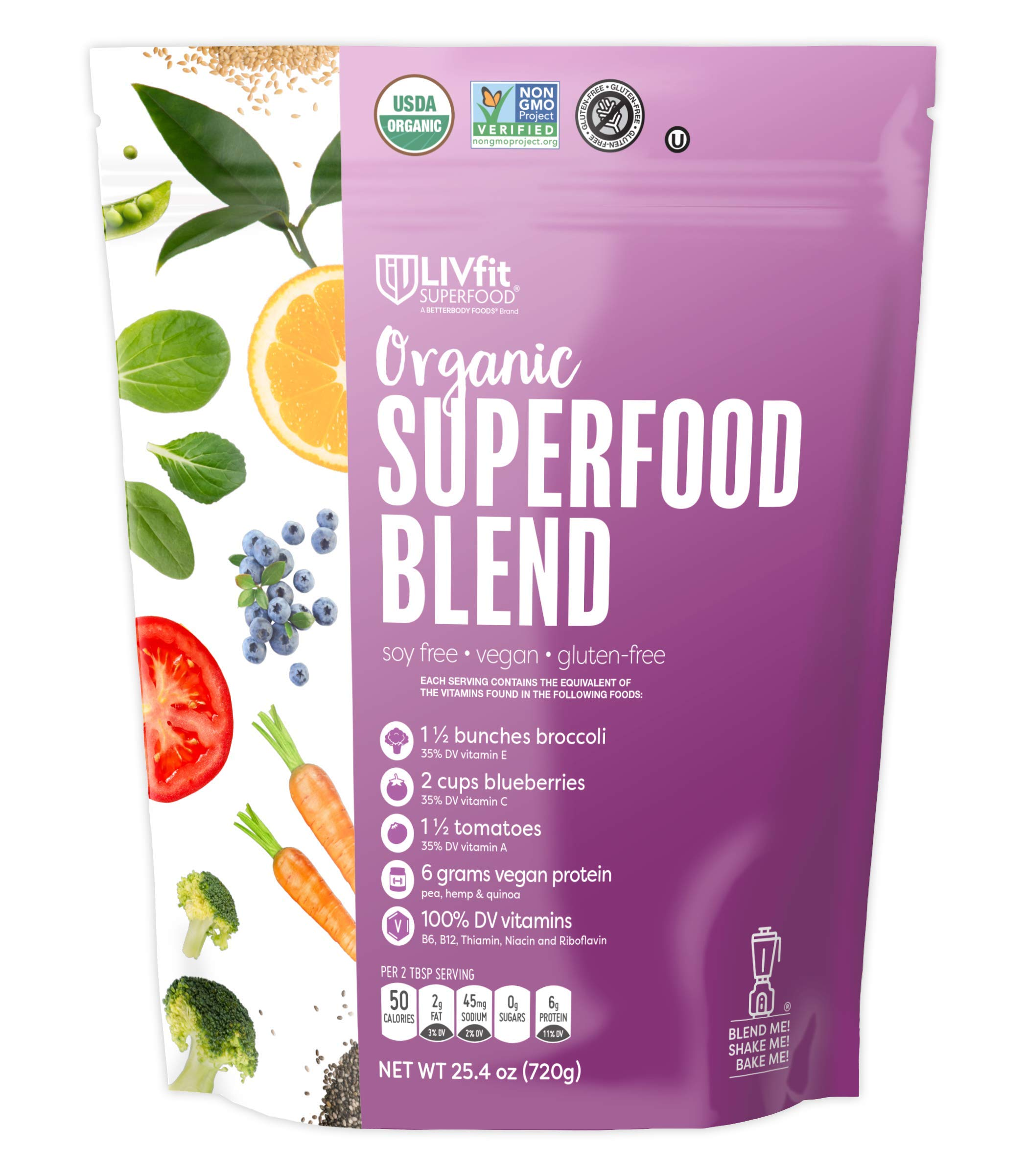 LIVfit Superfood Organic Superfood Blend Powder 720 Gram, 6g of Vegan Protein per Serving, Add to Morning Smoothies Fruit Shakes or Juices, Vegan, Soy- Gluten-Free by BetterBody Foods