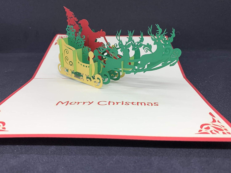 BC Worldwide Ltd 3D hecho a mano emergente Tarjeta de Navidad de Navidad reno Papá Noel trineo entrega de regalos, amor amistad familia papercraft corte láser origami kirigami saludo