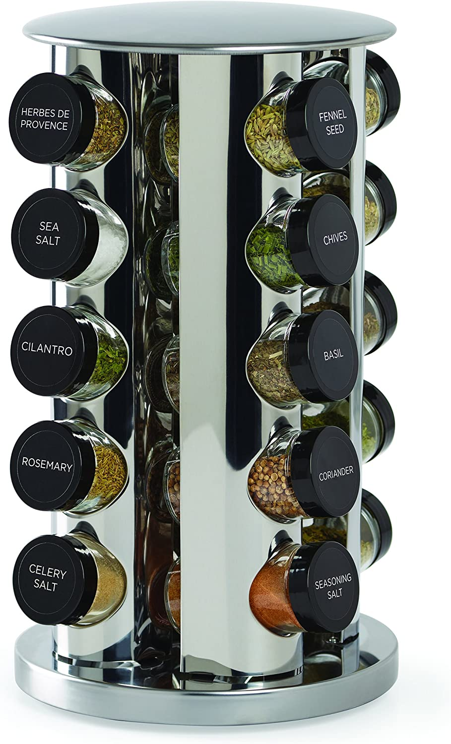 Kamenstein 30020 Revolving 20-Jar Countertop Spice Rack Tower Organizer with Free Spice Refills for 5 Years, Silver: Spice Racks: Kitchen & Dining