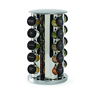 Kamenstein 30020 Revolving 20-Jar Countertop Spice Rack Tower Organizer with Free Spice Refills for 5 Years