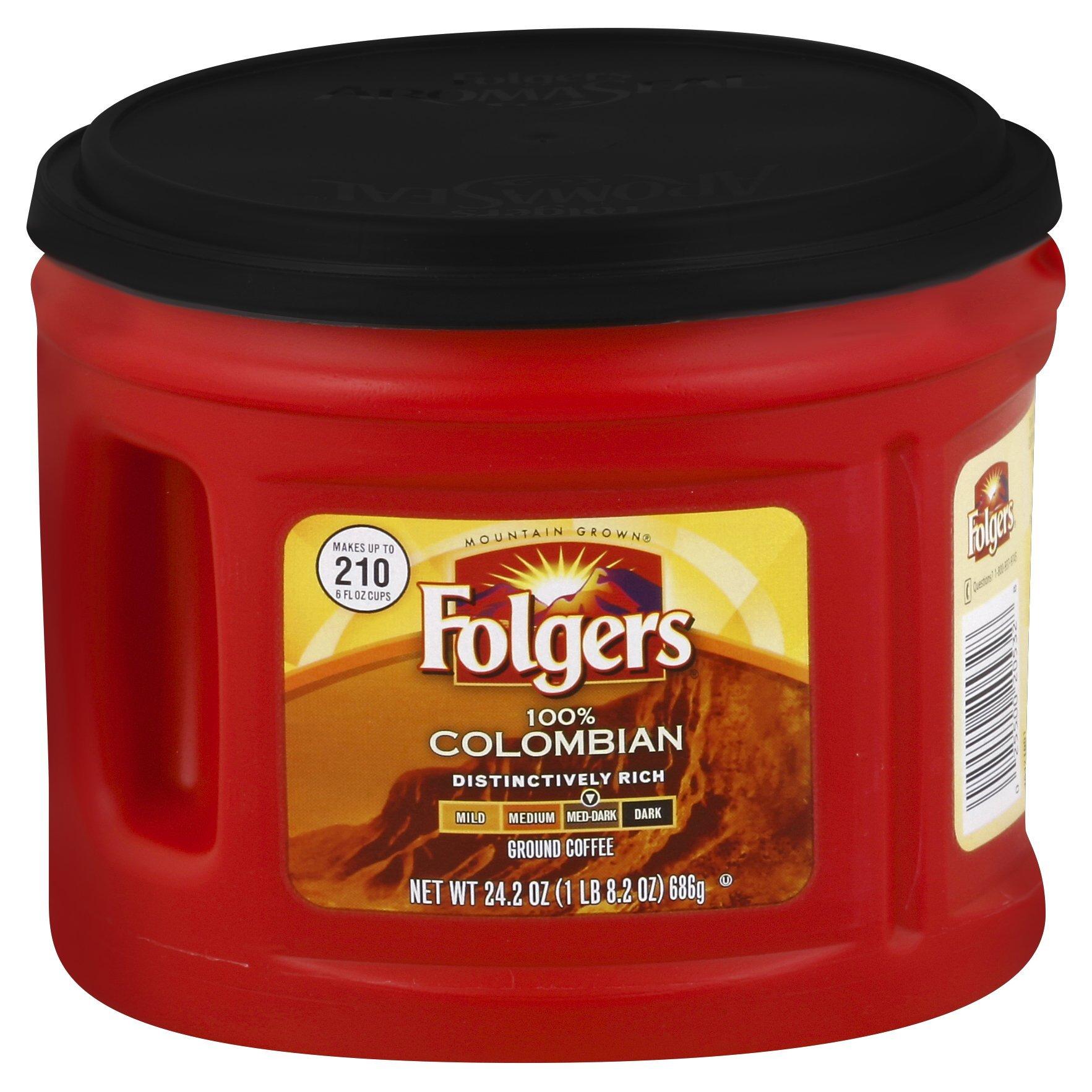 Folgers 100% Colombian Ground Coffee, Medium-Dark Roast, 24.2-Ounce, 6 Count