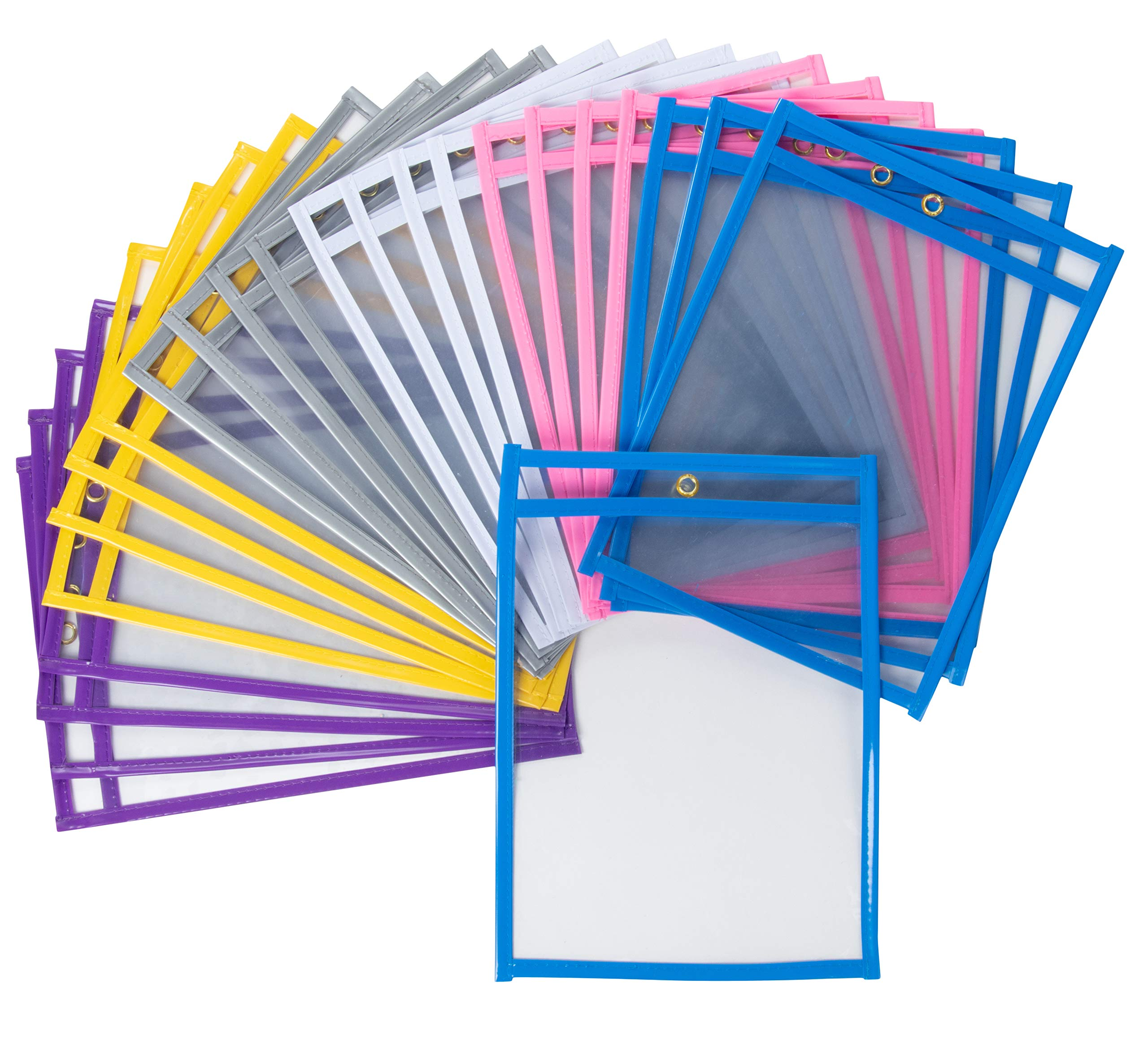 Juvale Kids Dry Erase Reusable Plastic Pocket Sleeves (24-Pack), Fits 9 x 12 Paper