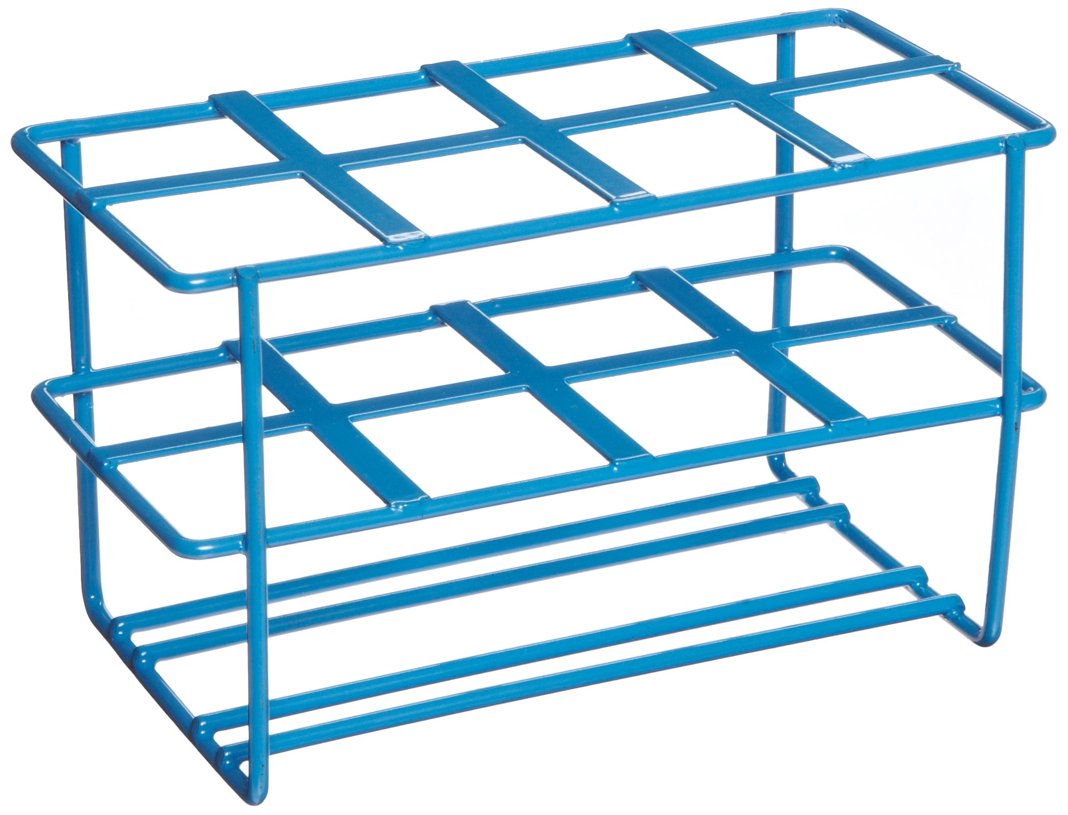 Heathrow Scientific HD232461 Steel Epoxy-Coated 8-Well Wire Racks for 50mL Tubes, Blue
