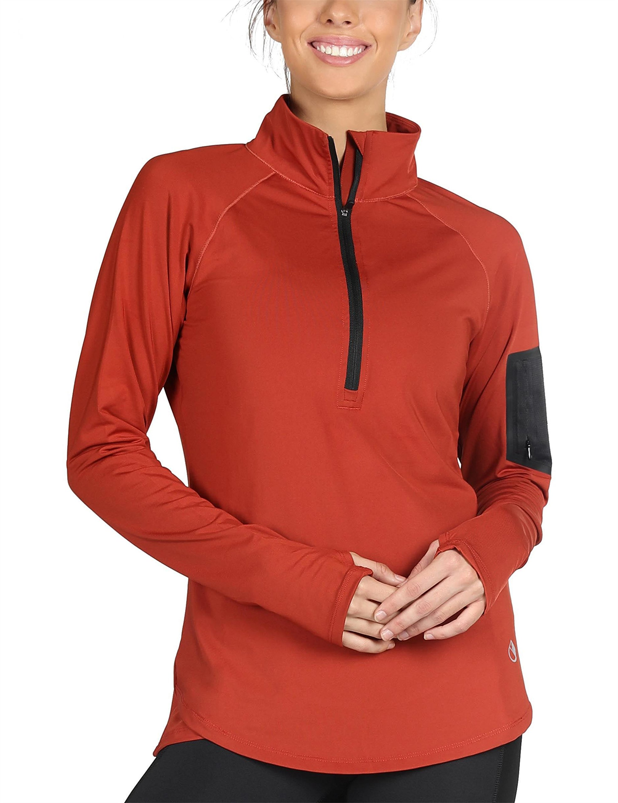 icyzone Women\'s Workout Yoga Track Jacket 1/2 Zip Long Sleeve Running Shirt (XL, Persimmom)