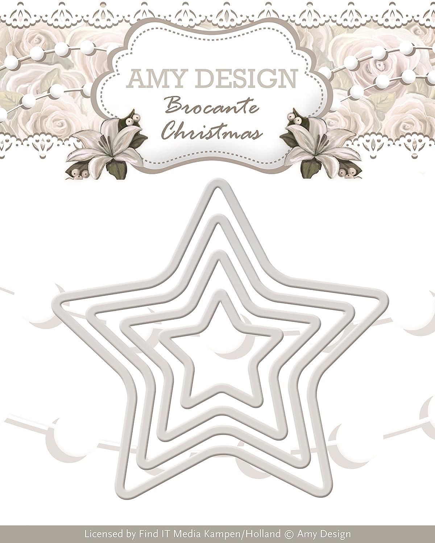 Amy Design Brocante Christmas Mini Star Frames Die, White Find IT Media ADD10033