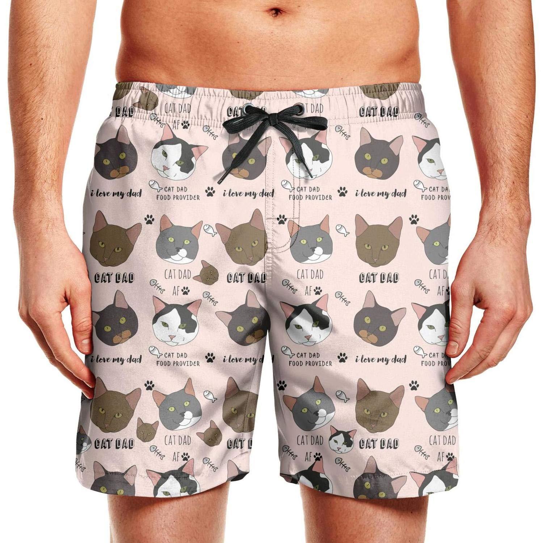 CCBING CAT DAD Cat Face Fish Bone Design Mens Fashion Swim Trunks Drawstring Elastic Waist