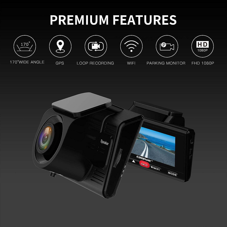 Campark Dashcam GPS WiFi Full-HD Auto Kamera 1080P Parkmonitor,WDR Loop Recording