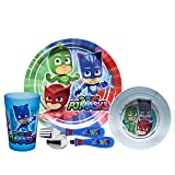 Zak Designs PJ Masks Kids Dinnerware Set Includes Plate, Bowl, Tumbler and Utensil Tableware, Made of Durable Material and Perfect for Kids (PJ Masks, 5 Piece Set, BPA-Free)