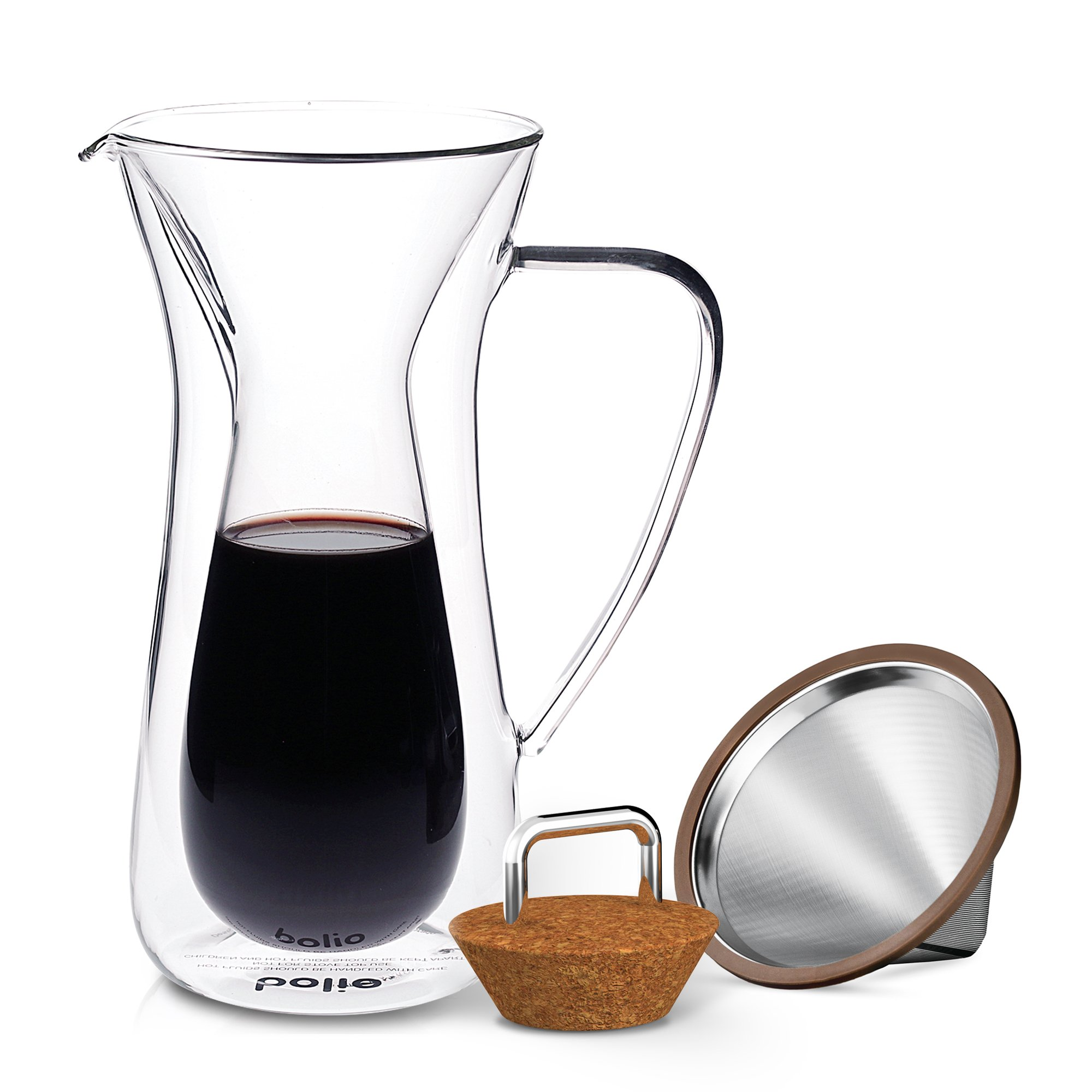 Double Wall Pour Over Coffee Maker With Stainless Steel Double Wall Cone Filter, Insulated Coffee Glass Carafe with Cork Lid, Best For Osaka Goldtone Hiware, Chemex, Hario V60 Coffee Makers By Bolio by Bolio