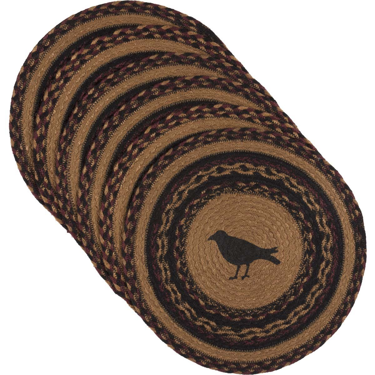 VHC Brands Primitive Tabletop & Kitchen-Heritage Farms Tan Crow Round Jute Tablemat Set of 6, Green
