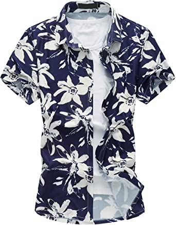 MOGU Camisa Estampada de Manga Corta Hawaiana Hombres: Amazon.es: Ropa y accesorios