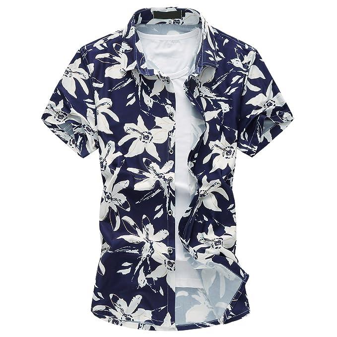 aa75ca9bbb MOGU Camisa Estampada de Manga Corta Hawaiana Hombres  Amazon.es  Ropa y  accesorios