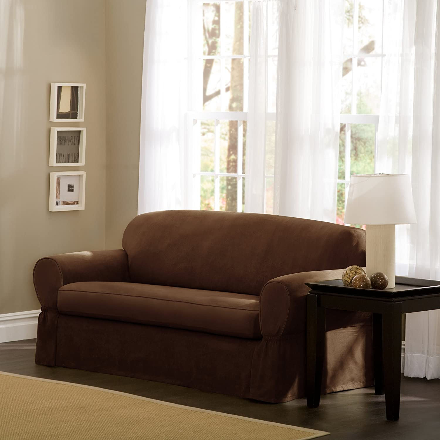 Amazon Maytex Piped Suede 2 Piece Loveseat Slipcover Brown