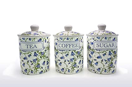 Bluebell Fine China Tea Coffee Sugar Canistersjars Free Uk Delivery