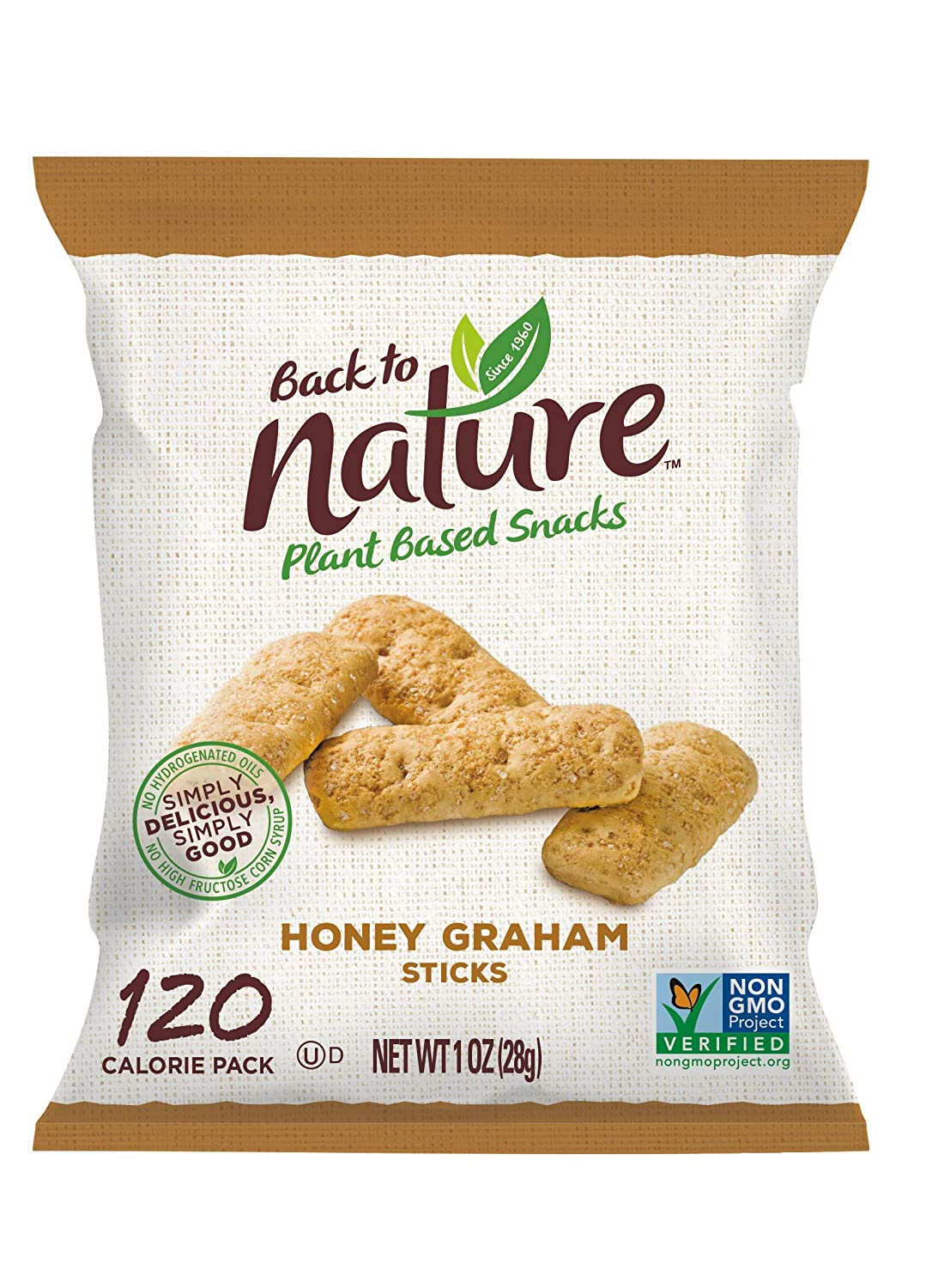Back to Nature Non-GMO Cookies, Honey Graham Sticks, 1 Ounce (Pack of 8)