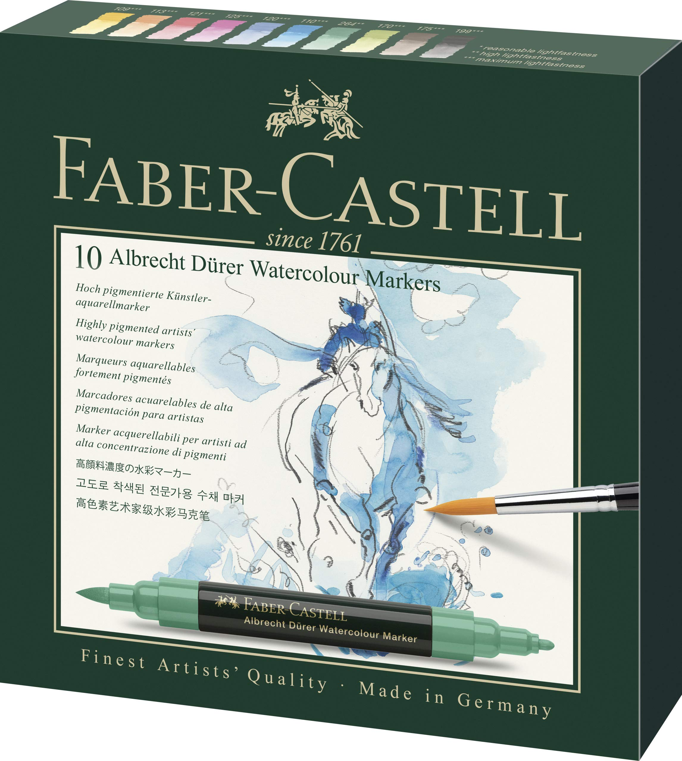 Faber-Castell Albrecht Durer Artists' Watercolor Markers - 10 Assorted Colors - Multipurpose Art Markers