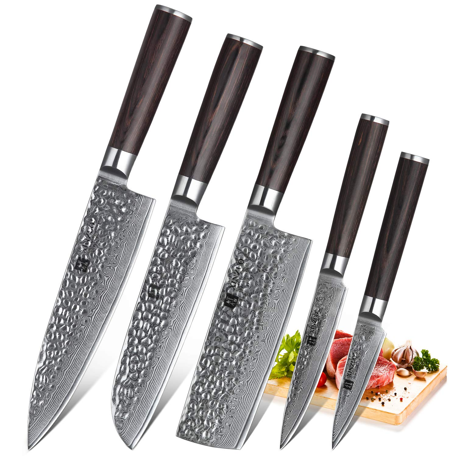 XINZUO 5-Piece Damascus Kitchen Knife Set Japanese Steel, Nakiri Knife Slicing Hammered Forging Damascus Kitchen Knife Professional Chef's Knife Cutlery Santoku Knife with Pakkawood Handle - He Series