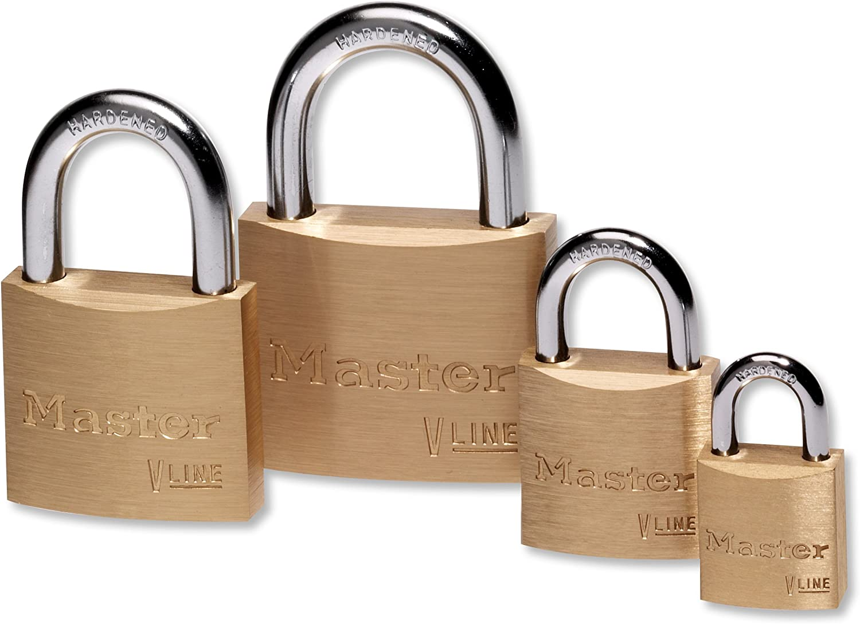Master Lock V Line 40mm Key Type 2313 Brass Padlock with Long Shackle Keyed Alike