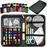 GeMoor 91pieces Premium Sewing Kit, Sewing spools needles with PU Box, Mini Household Sewing Accessories for Home, Travel and Emergency Use