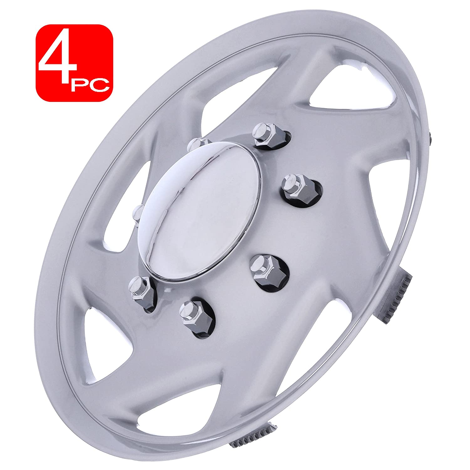Set of 4 Aftermarket 16 Inch fits FORD TRUCK//ECONOLINE VAN -Replica Hub Caps Cover Trend Silver With Chrome Center and SILVER Trim Wheel Covers
