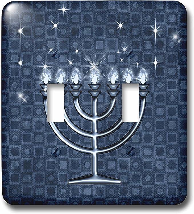 3drose Lsp 52282 2 Hanukkah Menorah Blue Double Toggle Switch Switch Plates