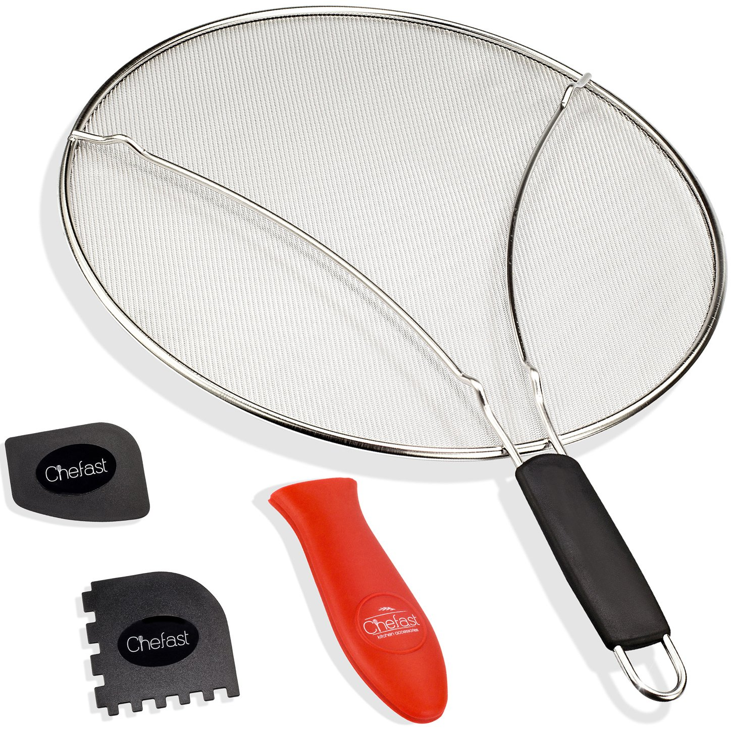 Chefast Splatter Screen Set: 13-Inch Stainless Steel Grease Guard, Grill and Cooking Pan Scrapers, and Silicone Hot Handle Holder - Oil Shield for Frying Pans and Skillets