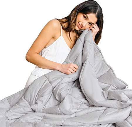 Luna Weighted Blanket (15 Lbs   60x80   Queen Size)   100 Percents Organic Cooling Cotton & Glass Beads   Designed In Usa   Heavy Cool Weighted Blanket For Hot & Cold Sleepers   Kids Or Adult   Grey by Luna