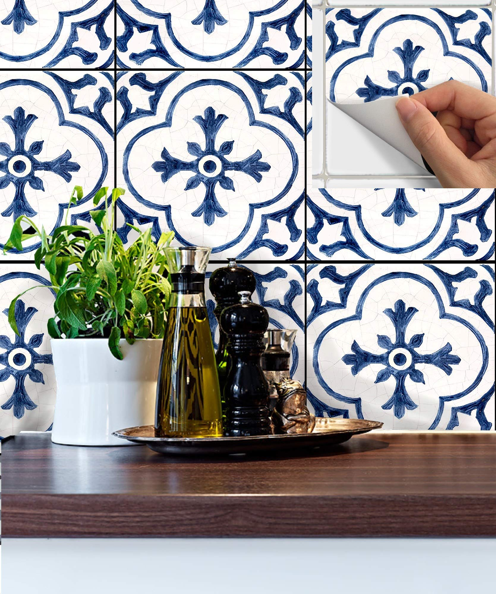 SnazzyDecal Tile Stickers Antique Dutch 40pc 4-1/4in Peel and Stick for Kitchen and Bath BW002-4Q by SnazzyDecal (Image #4)