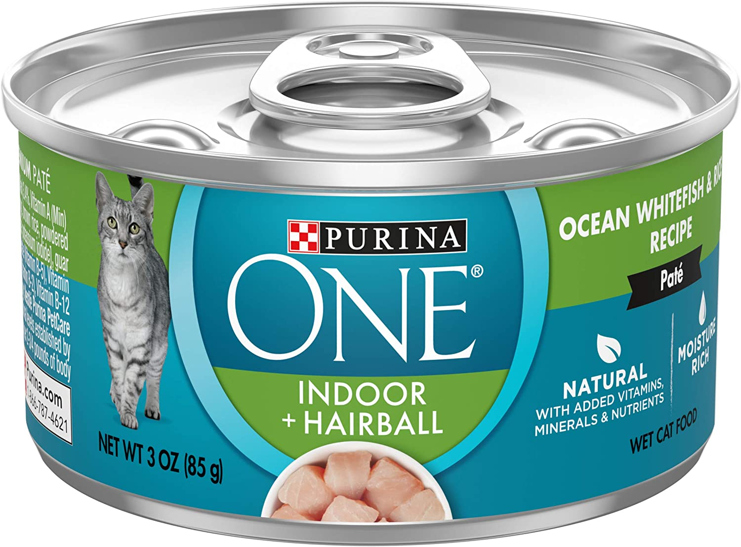 Purina ONE Indoor, Natural, High Protein Pate Wet Cat Food, Indoor Advantage Ocean Whitefish & Rice - (12) 3 oz. Pull-Top Cans