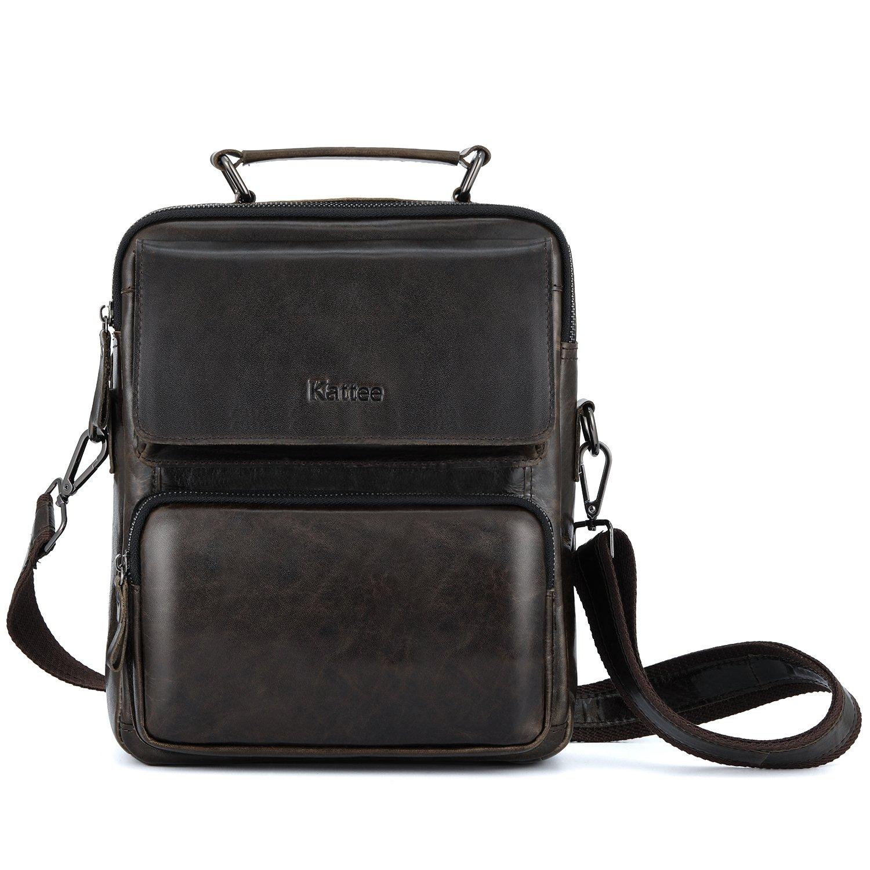 Kattee Vintage Leather Messenger Bag for men, Small Business Satchel Shoulder Bag