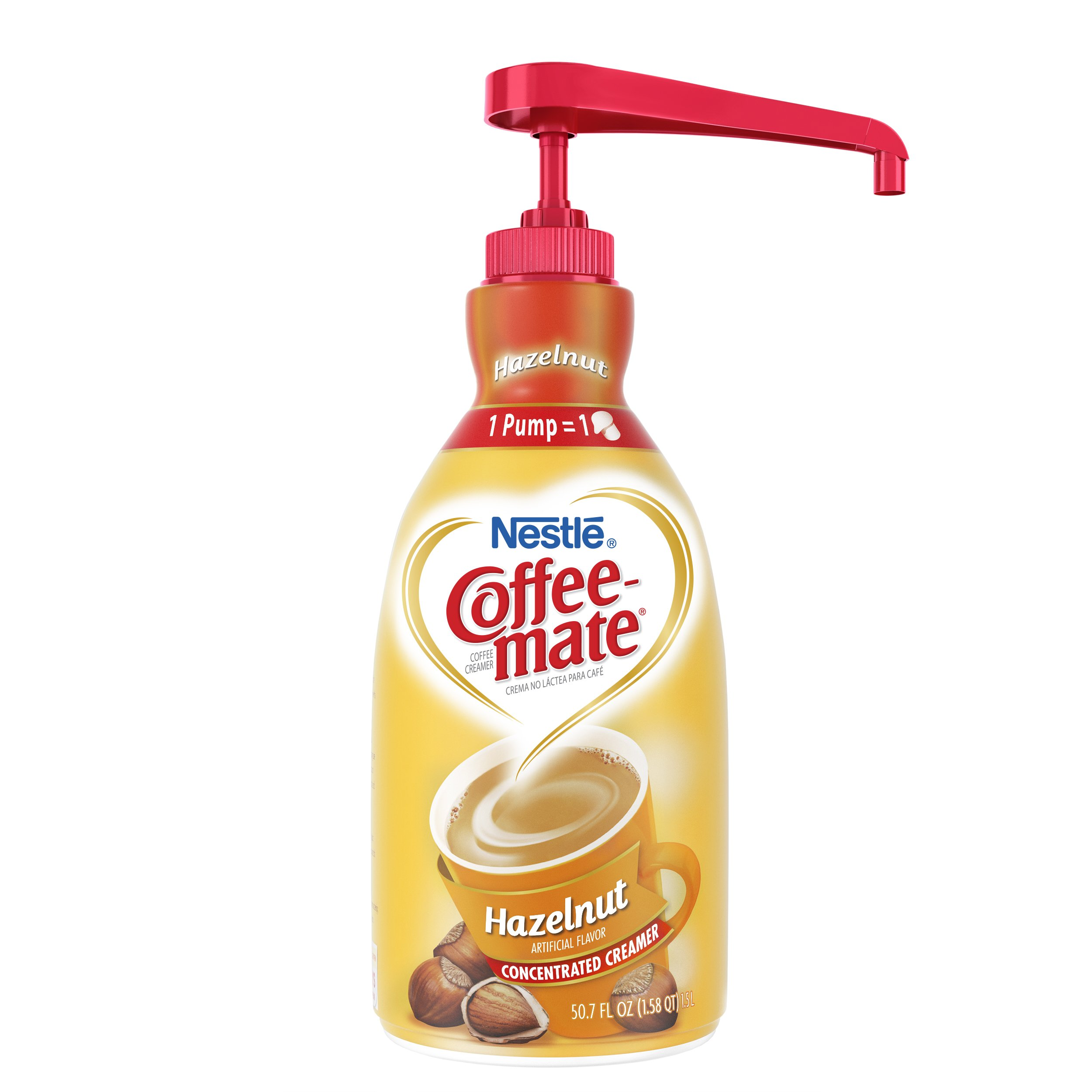 Nestle Coffee-mate Coffee Creamer, Hazelnut, 1.5L liquid pump bottle, Pack of 2 by Nestle Coffee Mate (Image #2)