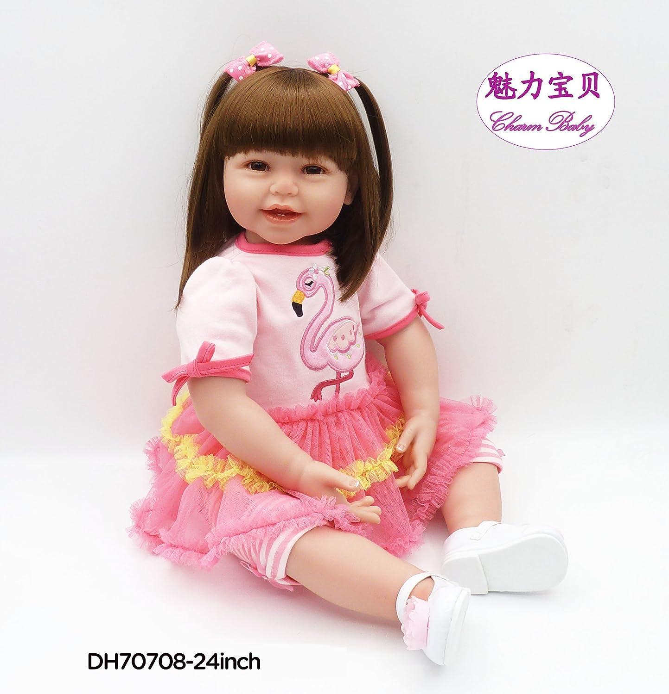 Cham Baby 24 Inch / 61 cmソフトシリコンビニールHead &手足、ソフトボディBaby Boy Realistic Looking刺繍入りクレーンパターン   B07B9FJNPV