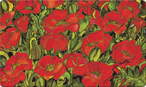 Toland Home Garden Red Poppies 18 x 30 Inch Decorative Floor Mat Floral Colorful Flower Field Doormat