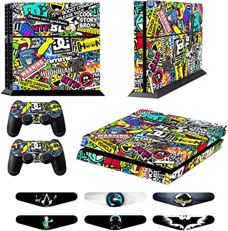 Stickers for PS4 Playstation 4 Decals PS4 Games Skins Accessories Protective Skin for Sony Console System Plus Two(2) Decals For: PS4 Dualshock Wireless Controller - Doodle: Amazon.es: Videojuegos