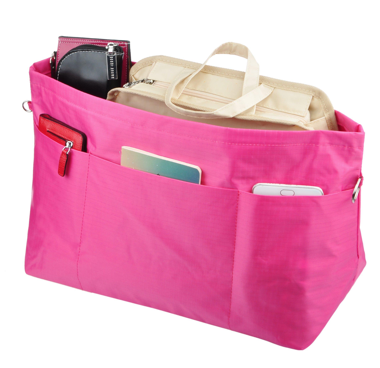 Vercord Extra-Large Handbag Purse Bag Tote Organizer Inserts Multi-Pockets For Speedy 40, Magenta