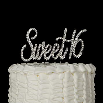 Amazoncom Sweet 16 Cake Topper Crystal Rhinestone 16th Birthday