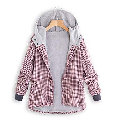 6d0a44992 Amazon.com: Winter Jacket Long Coat Women Plaid Print Hooded Woman Tops and  Blouses: Clothing