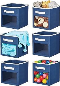 mDesign Soft Fabric Closet Storage Organizer Cube Bin Box, Clear Window and Handle - for Child/Kids Room, Nursery, Playroom, Furniture Units, Shelf, 6 Pack - Navy Blue/White