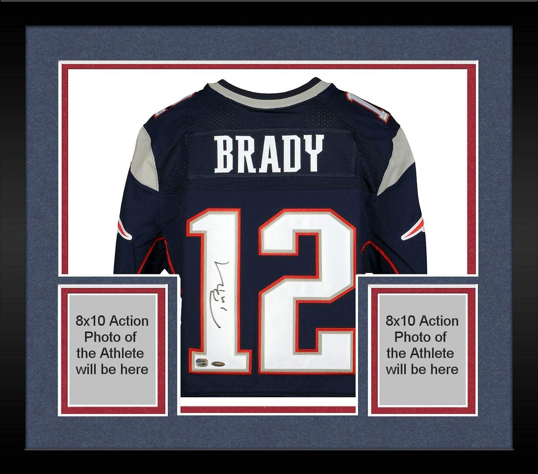 watch f6eee 339da Framed Tom Brady New England Patriots Autographed Navy Nike ...