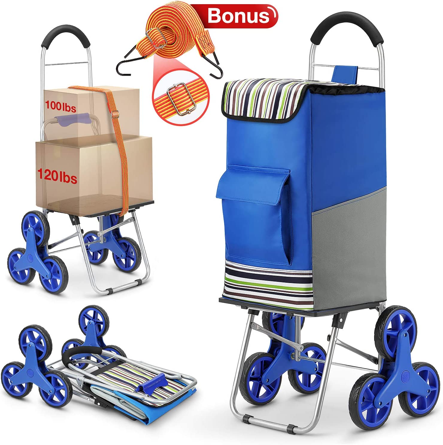 Shopping Cart, Super Loading Stair Climber Cart 220 lbs Capacity Grocery Foldable Cart with Extra Large Shopping Bag Laundry Utility Cart Bonus Adjustable Bungee Cord