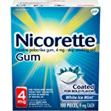 Nicorette 4mg Nicotine Gum to Quit Smoking - Ice Mint Flavored Stop Smoking Aid, White Ice Mint, 100 Count