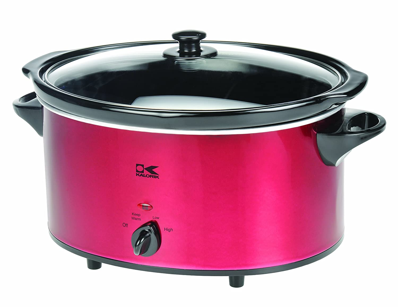 Amazon.com: Kalorik Oval Slow Cooker, Red, 6-Qt.: Electric Cookers ...