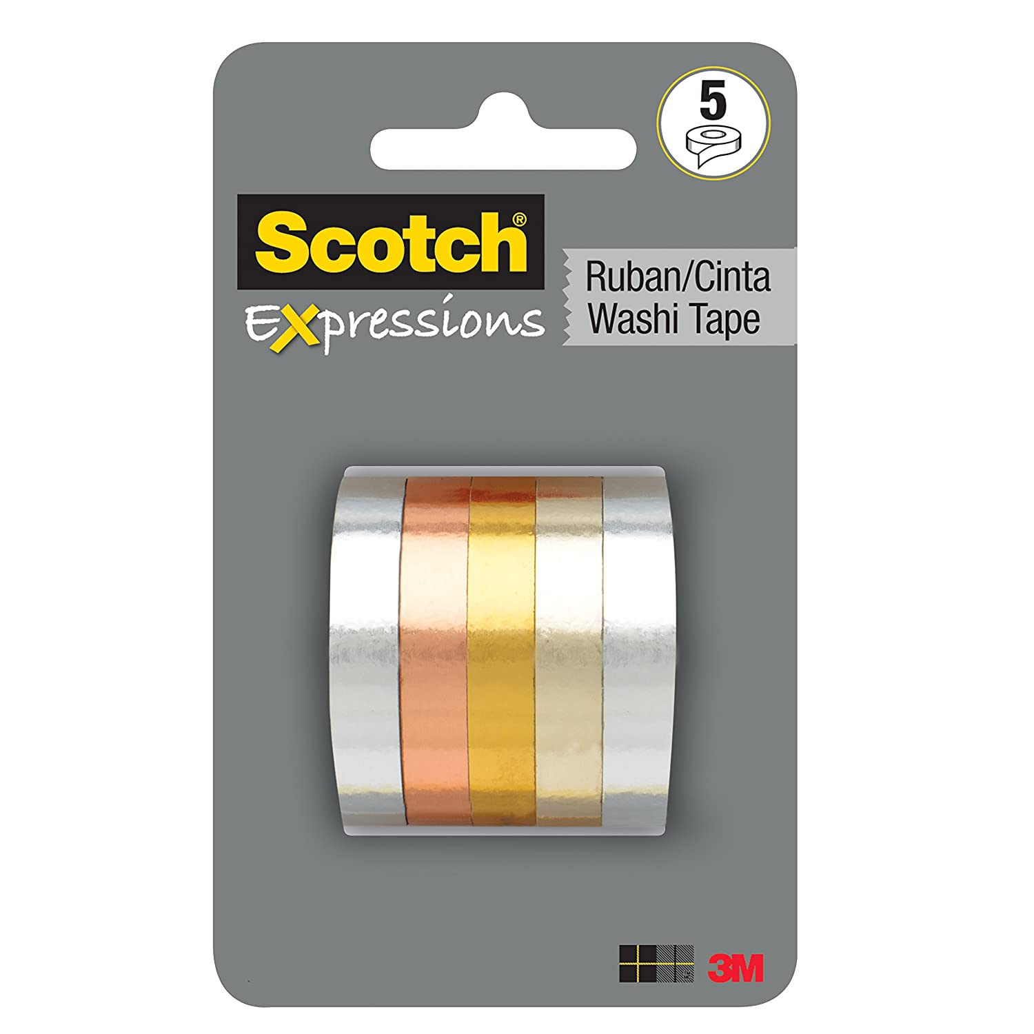 Scotch Expressions Washi Tape Multi Pack, 5 rolls/pk, Thin Foil Collection (C1017-5-P1)