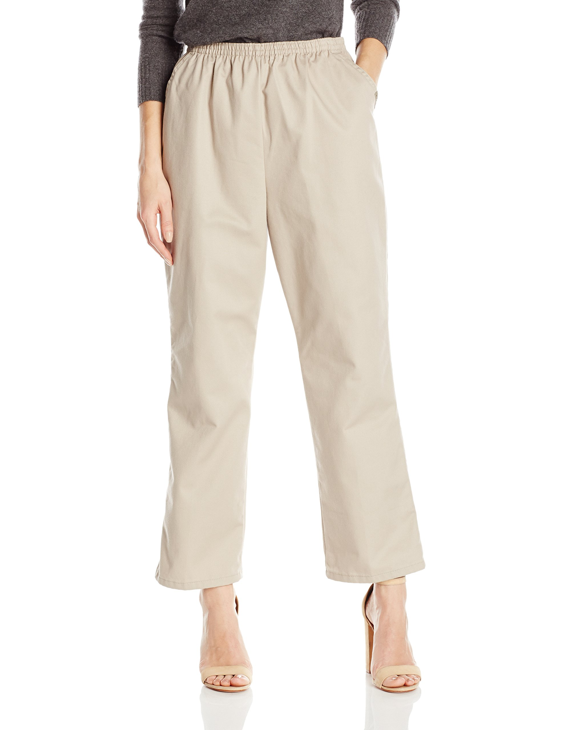 Chic Classic Collection Women's Petite Cotton Pull-On Pant with Elastic Waist, Khaki Twill, 14P