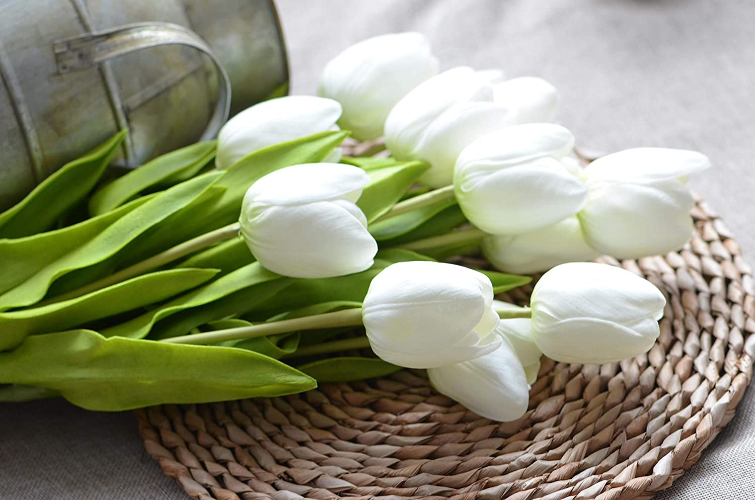 """Floral Kingdom 19"""" Real Touch Latex Tulips for Artificial Flower Arrangements, Bridal Bouquets, Home/Office Decor (Pack of 8) (White)"""
