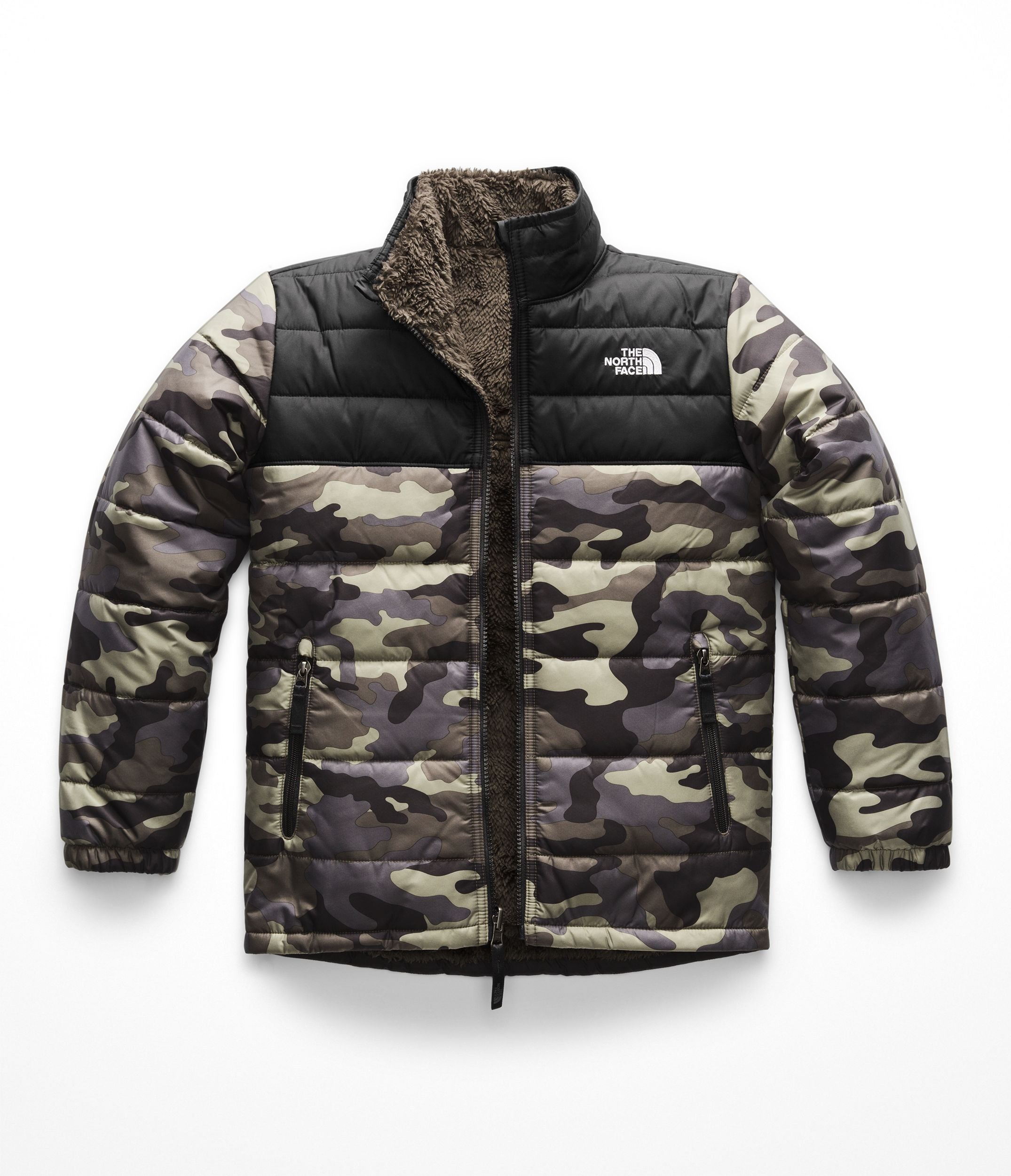 The North Face Boys Reversible Mount Chimborazo Jacket - New Taupe Green Camouflage Print - M