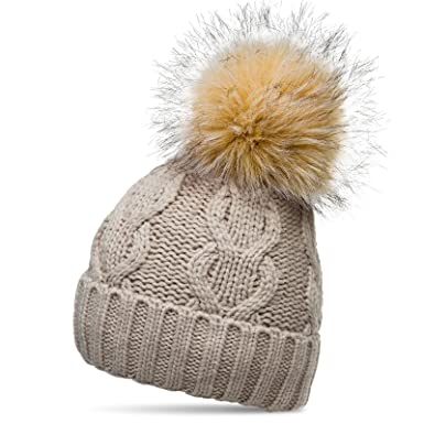 ff6b427384a CASPAR MU163 Women Winter Knitted Bobble Hat with XL Faux Fur Pom Pom and  Classic Cable Knit
