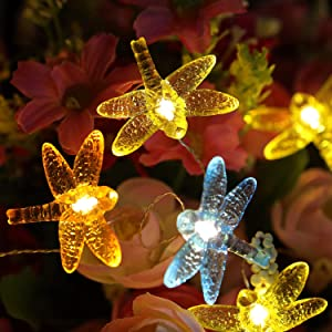 WSgift Solar Dragonfly String Lights, 15.8 Ft 30 Warm White LED Outdoor Waterproof Dragonfly Fairy String Lights for Garden Yard Outdoor Decorations