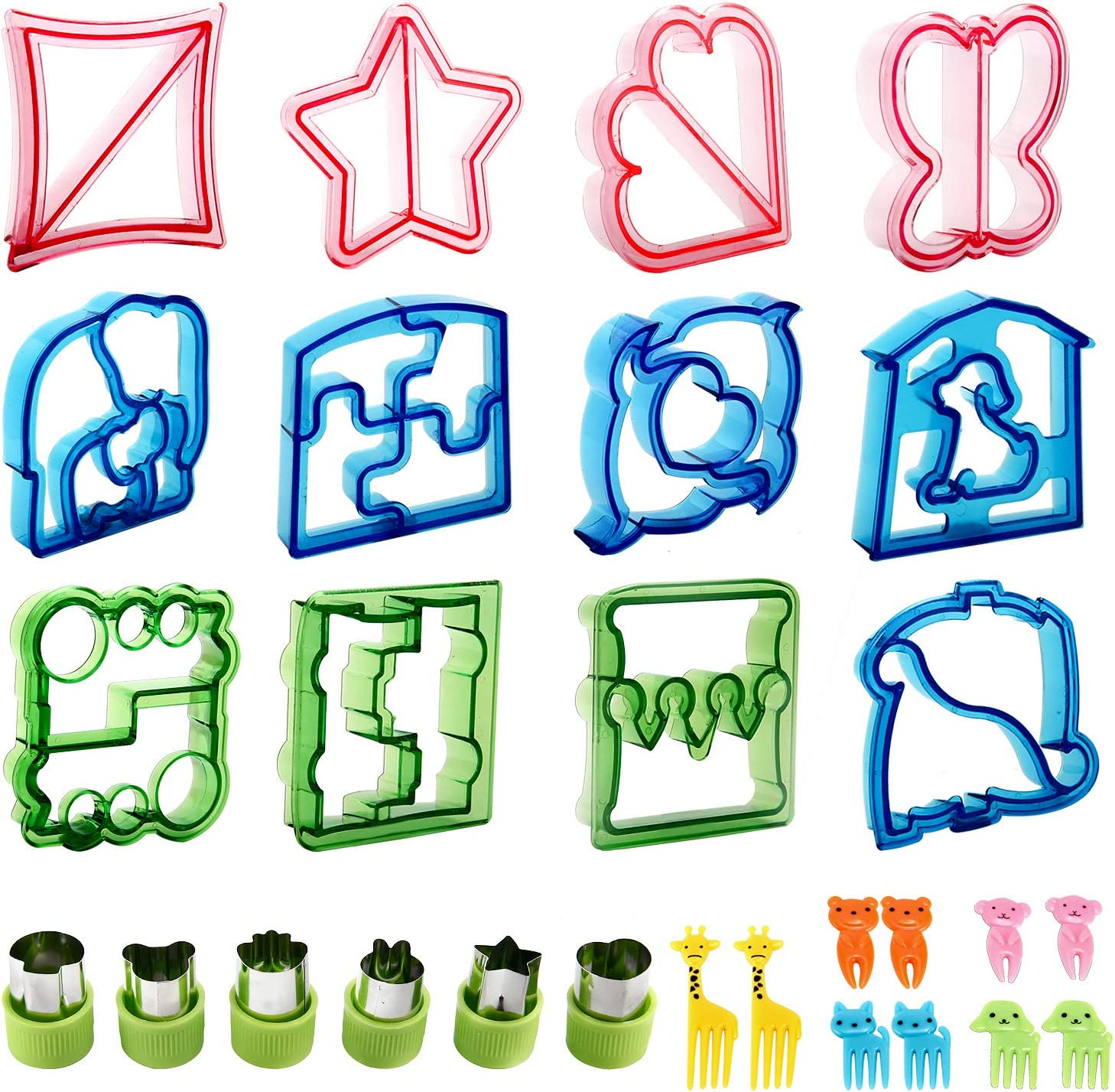 Sandwich Cutters for kids,RUCKAE 28pcs Sandwich Cutter Great For Toddler Lunch Box and Containers,includes Fruit and Vegetable cookie cutters,Food Pick forks