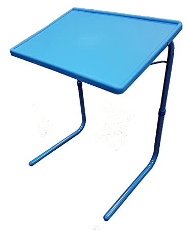 5starsuperdeal Portable And Foldable Comfortable TV Tray Table, Adjustable  Tray With Cup Holder, Blue